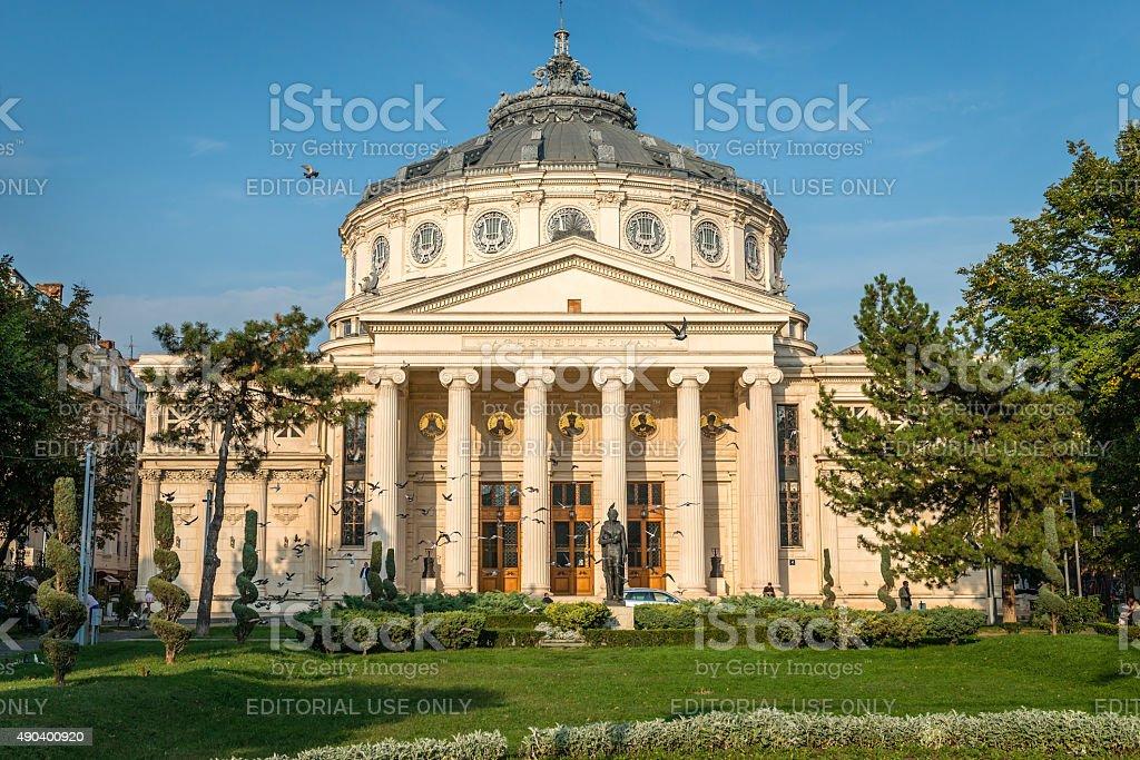 Romanian Athenaeum  in Bucharest, Romania stock photo