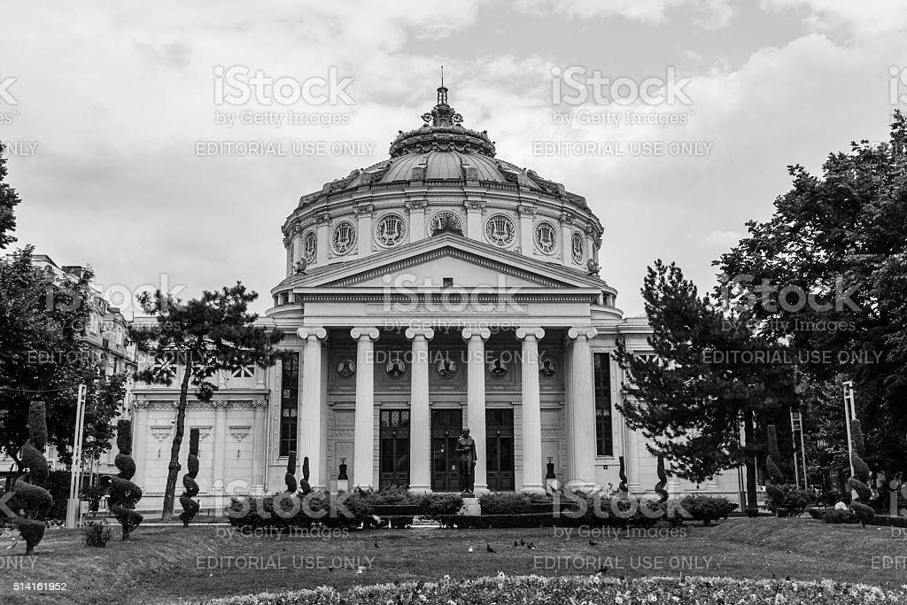 Romanian Atheneum in the center of Bucharest, Romania. stock photo