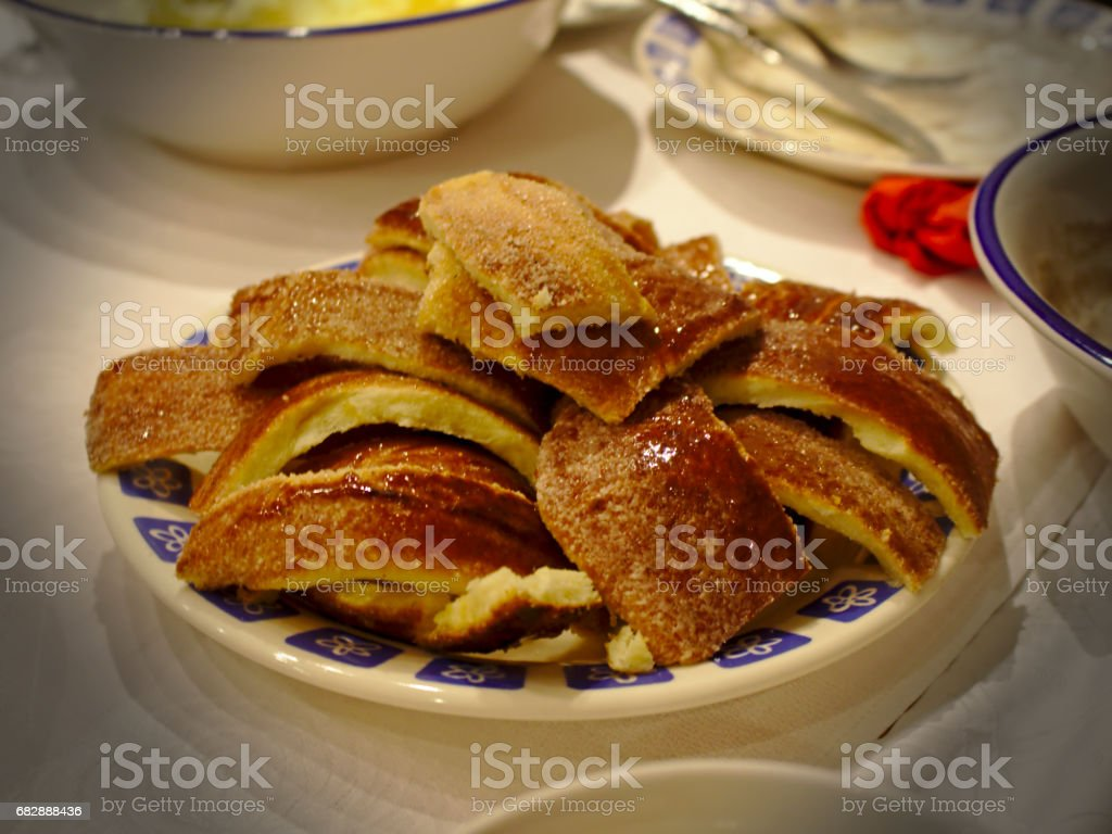Romanian Baumstriezel pastry stock photo