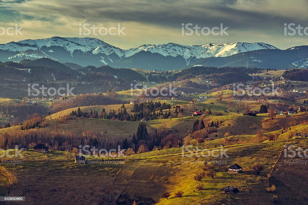 Romanian countryside landscape stock photo