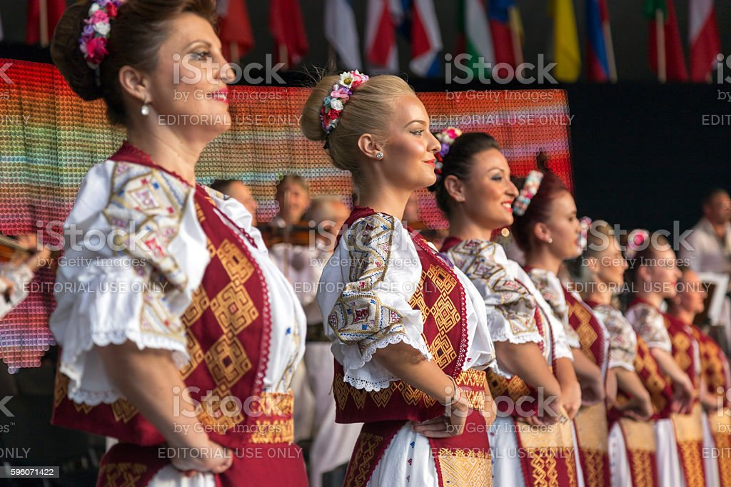 Romanian dancers in traditional costume stock photo