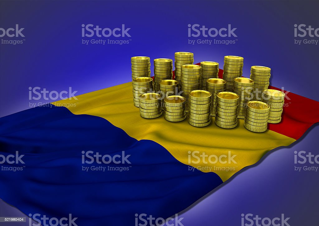 Romanian economy concept with national flag and golden coins stock photo