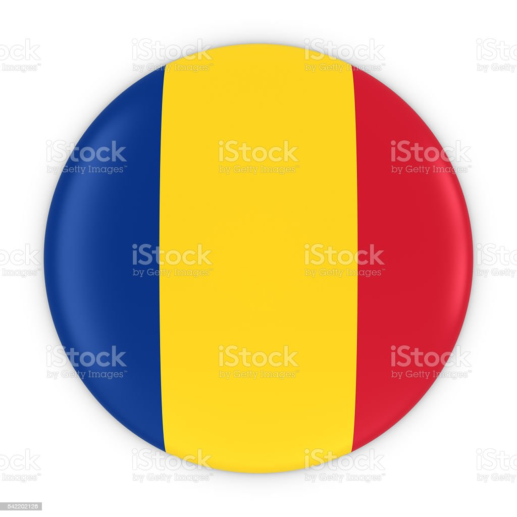 Romanian Flag Button - Flag of Romania Badge 3D Illustration stock photo