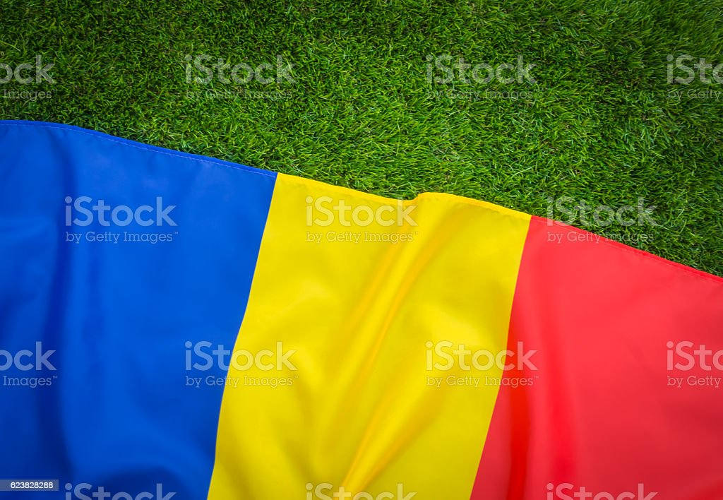 Romanian flag on green grass stock photo