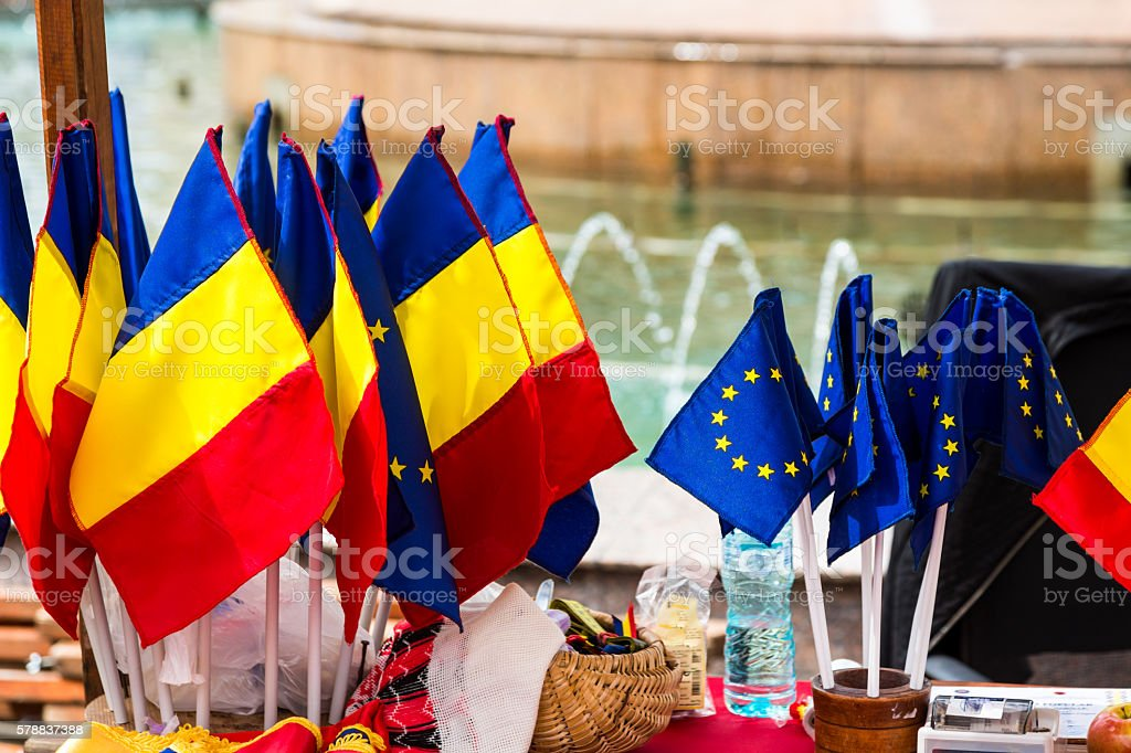 Romanian Flags and European Union Flags Side by Side stock photo