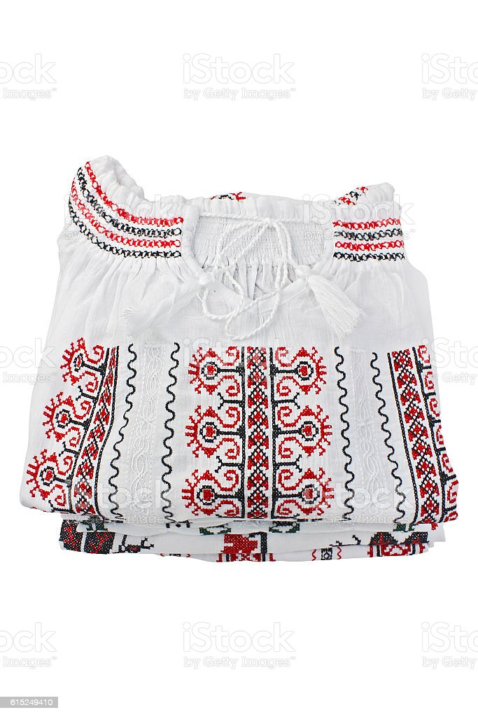 Romanian folk blouses traditional stock photo