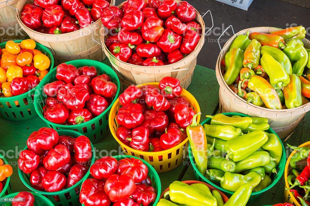 Romanian Gogosari and Carmer Peppers stock photo