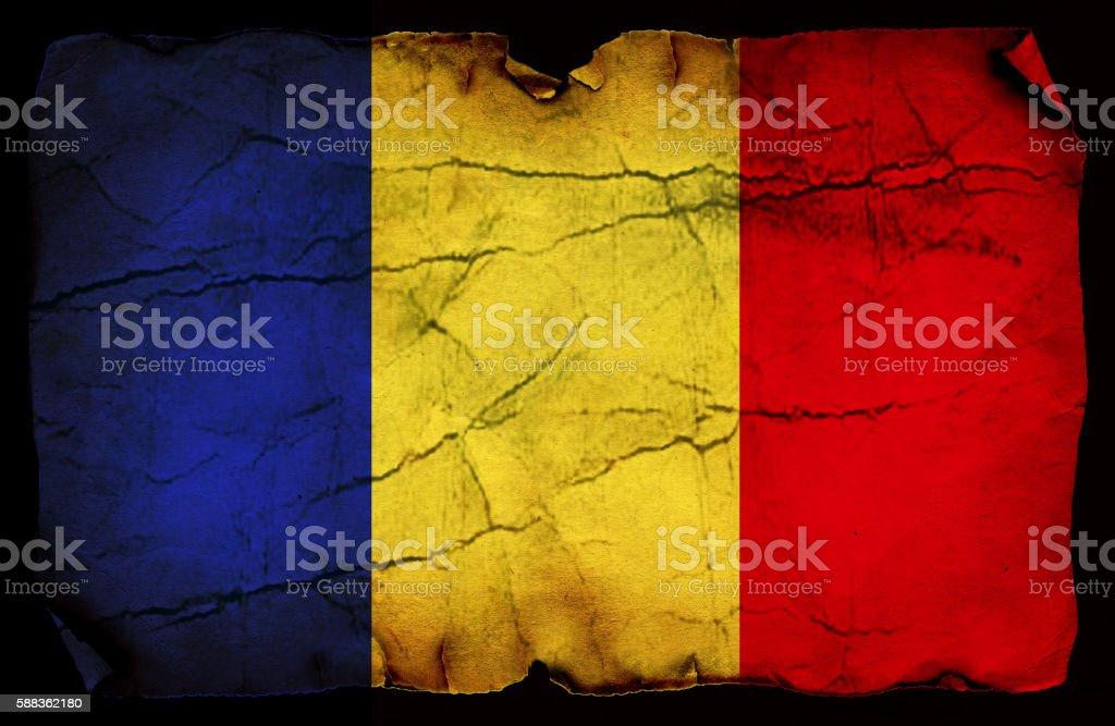 Romanian grunge flag stock photo