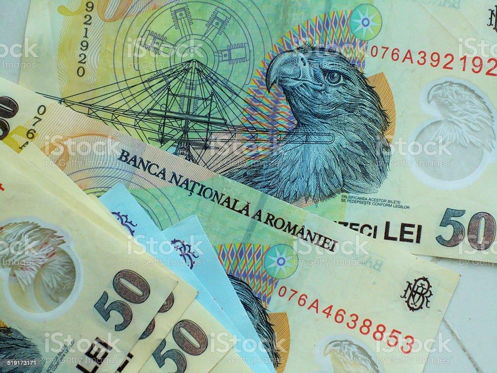 Romanian lei currency stock photo