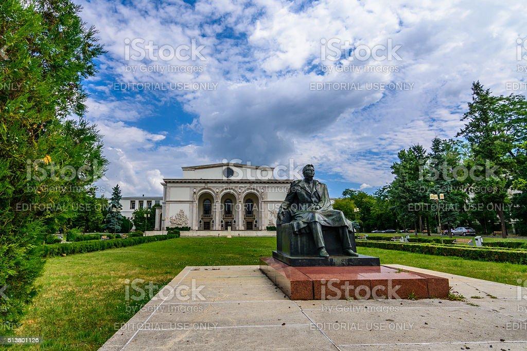 Romanian National Opera facade on AUGUST 30, 2015 in Bucharest. stock photo