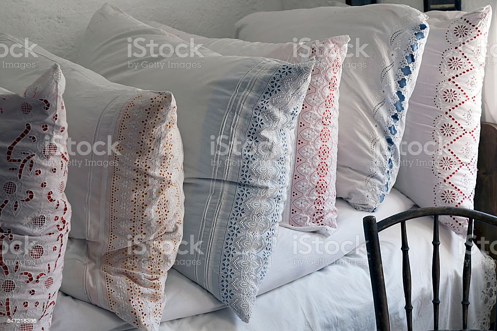Romanian pillows traditional embroidered stock photo