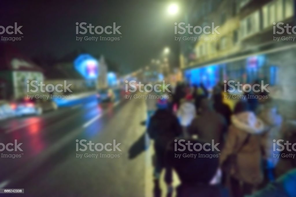 Romanian protests creative abstract blur background with bokeh effect stock photo