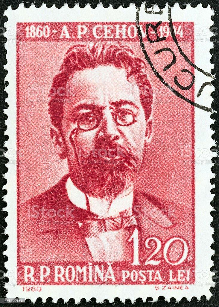 Romanian stamp shows writer Anton Chekhov (1960) royalty-free stock photo