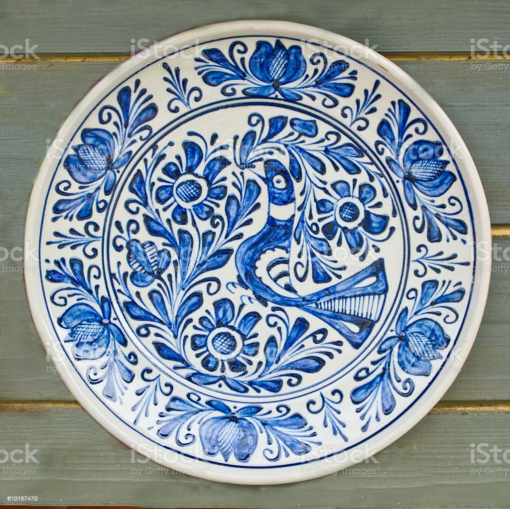 White ceramic plates for crafts - Romania Animal Markings Art And Craft Bird Blue Romanian Traditional Ceramic Plate