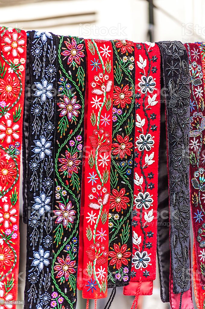 Romanian traditional folk embroidery stock photo