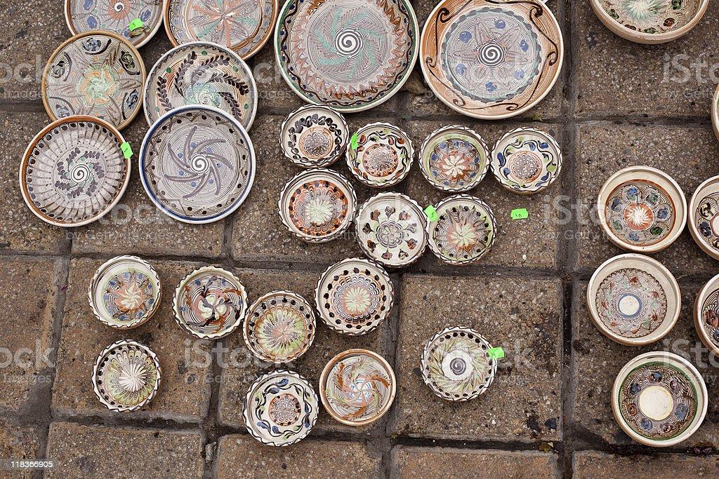 Romanian traditional pots stock photo
