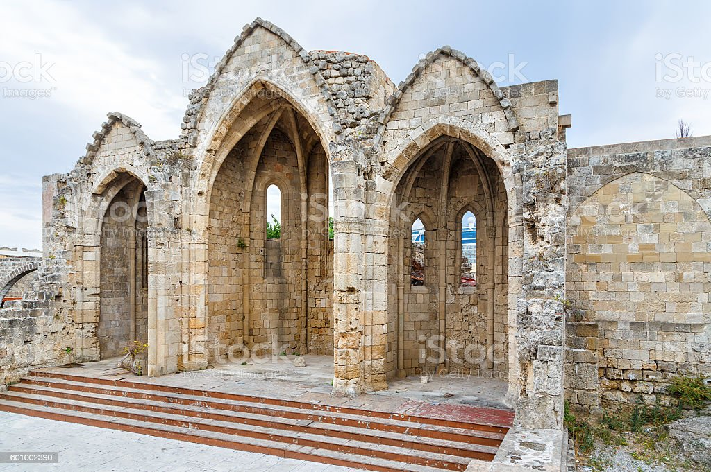 Romanic basilica ruins, in old town of Rhodes, Greece stock photo