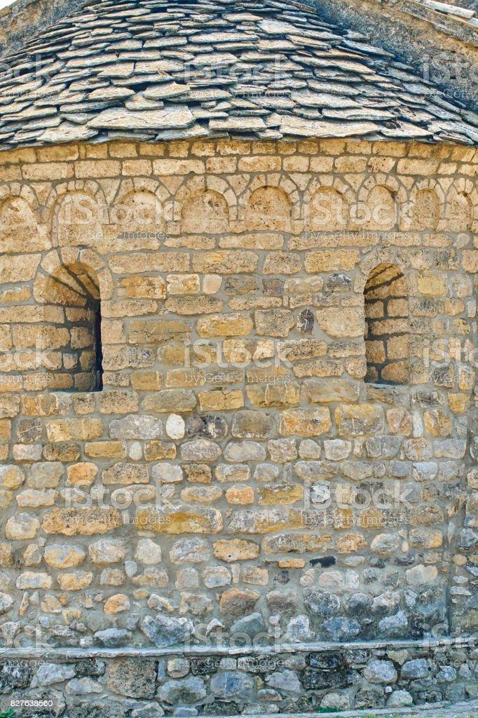 Romanic church detail, Santa Cecília  - Catalonian Pyrenees stock photo