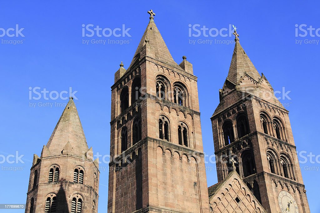 Romanic church of Guebwiller in Alsace stock photo