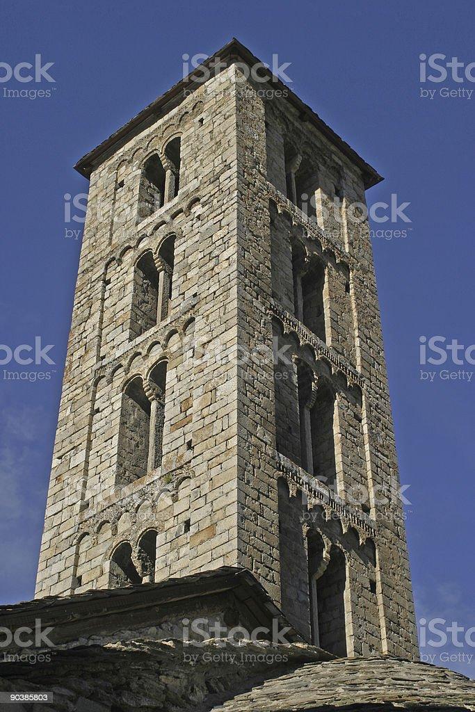 Romanic church tower stock photo