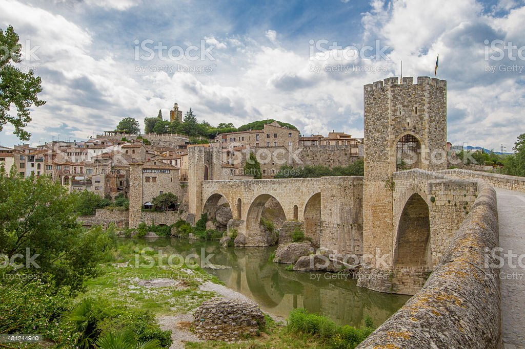 Romanic town Besalu, Spain stock photo