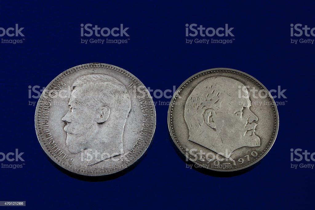 Romanov and Lenin stock photo