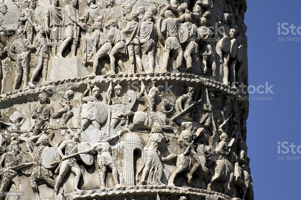 Romans warriors  sculpted in Trajan's column stock photo