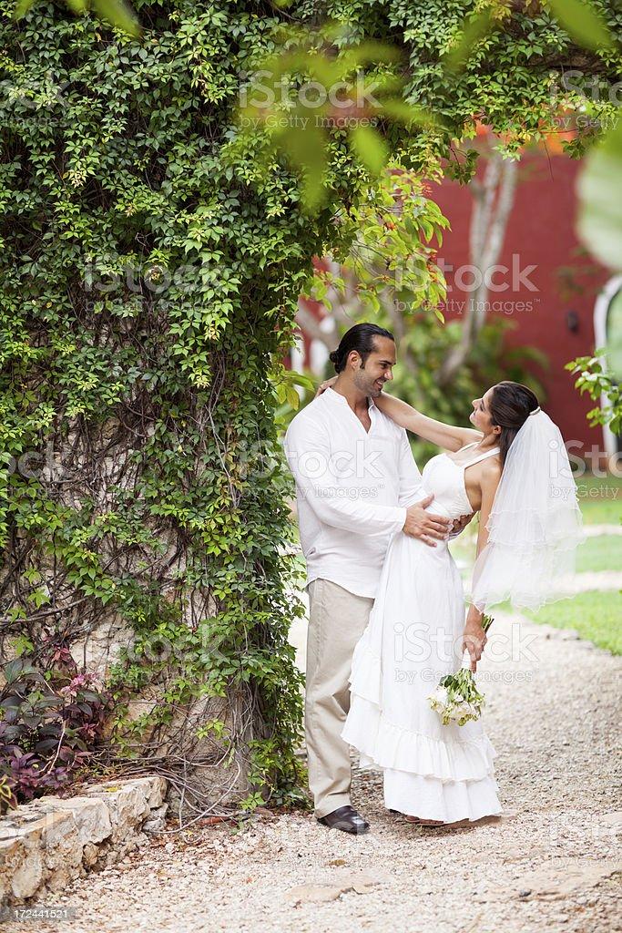 Romantic and loving wedding couple royalty-free stock photo