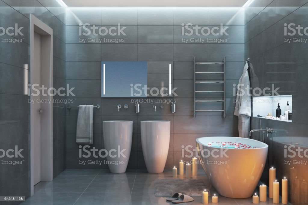 Romantic bath with candles in the evening stock photo