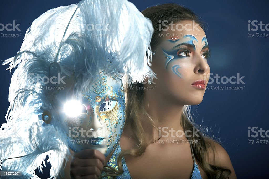Romantic Beauty in blue with Carnival mask royalty-free stock photo