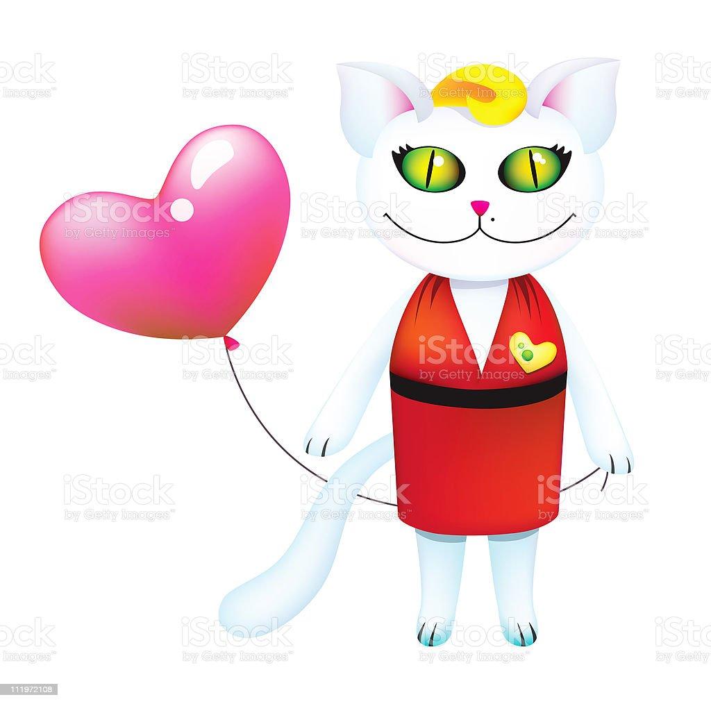Romantic blond kitty with balloon stock photo