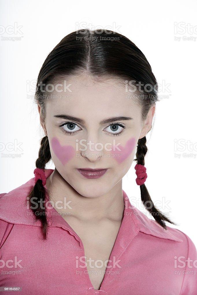 romantic blushing heart girl stock photo