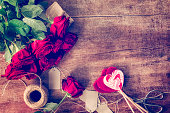 Romantic Bouquet of Red Roses and Heart Lollipops