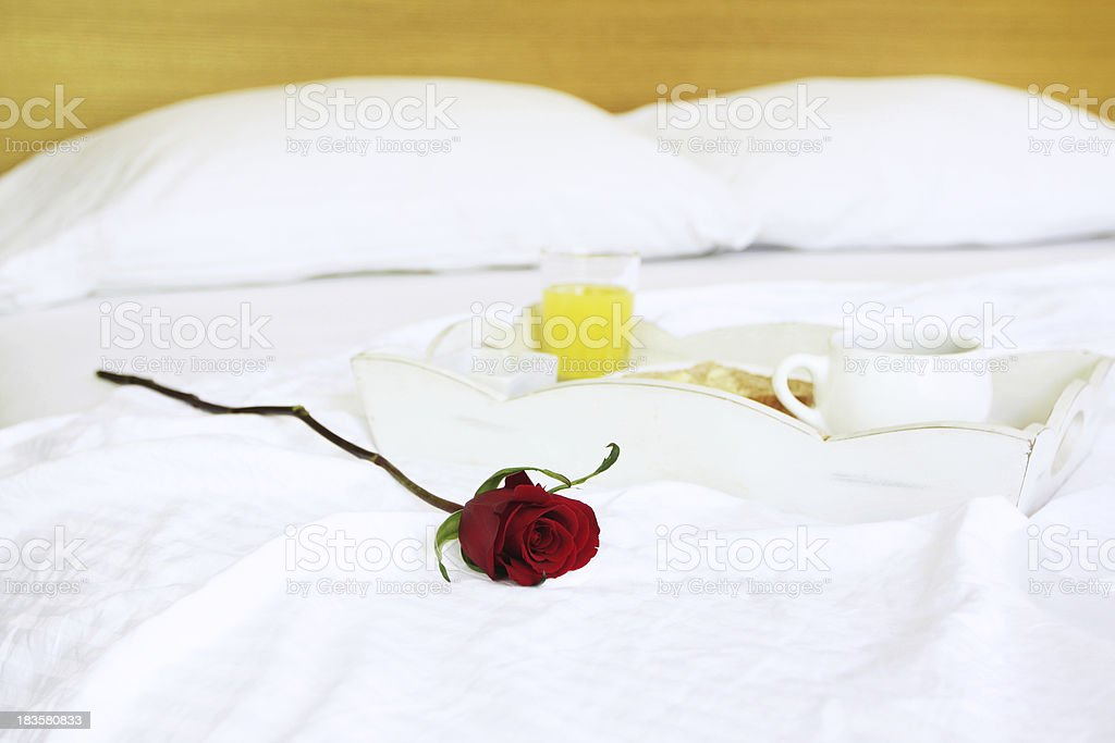 Romantic breakfast in bed royalty-free stock photo