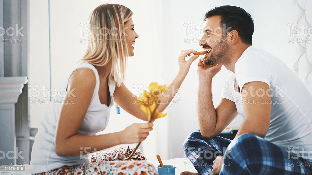 Romantic breakfast on weekend morning. stock photo