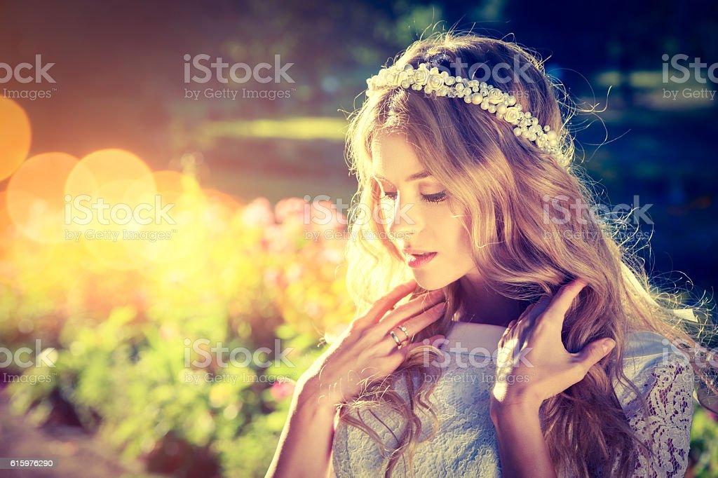Romantic Bride on Warm Nature Background stock photo