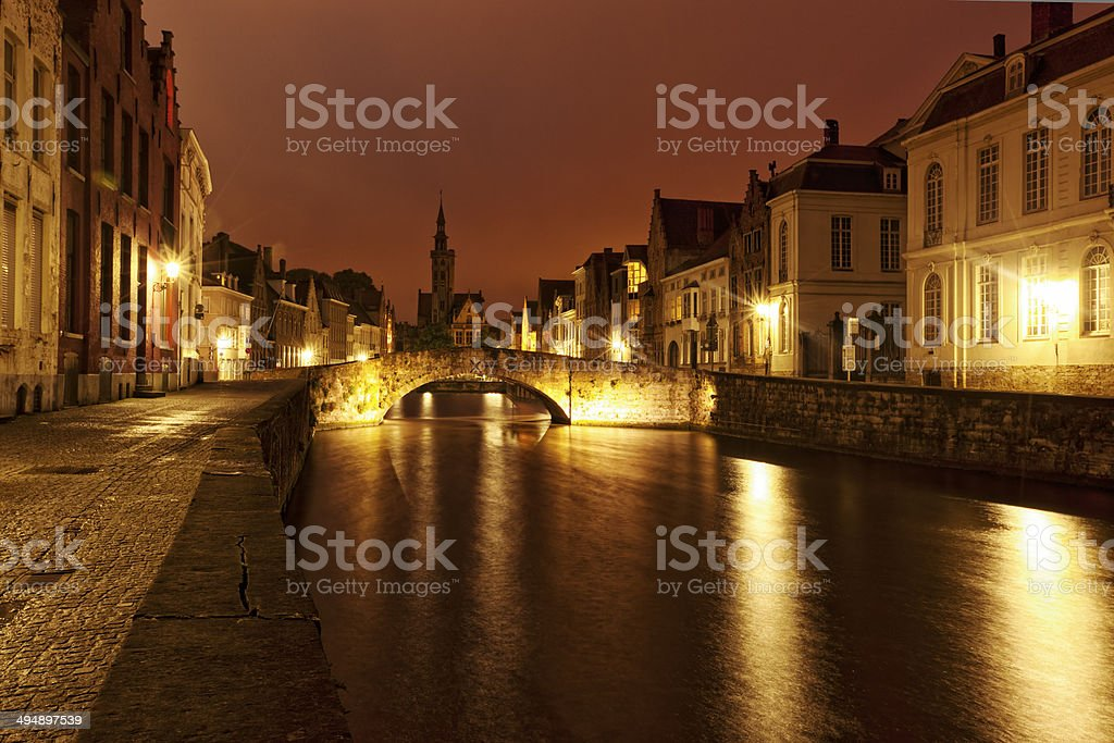 Romantic Bruges at night stock photo