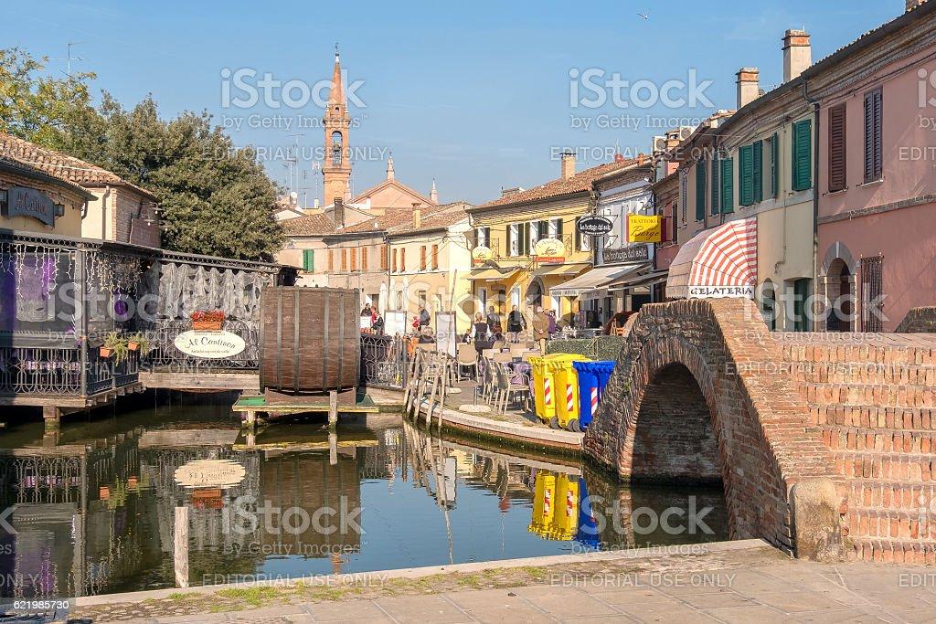 romantic canal restaurant in Comacchio, Emilia Romagna taly stock photo