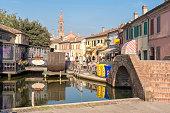 romantic canal restaurant in Comacchio, Emilia Romagna taly