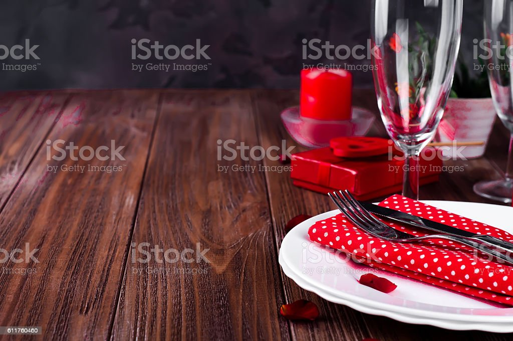 Romantic candle light Valentine Table Setting stock photo
