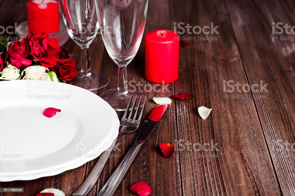 Romantic candle light Valentine Table Setting stock photo