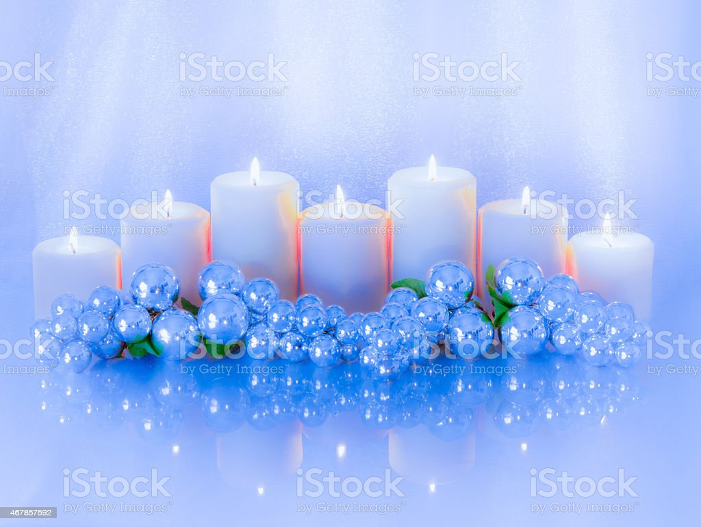 Romantic Candlelight centerpiece in icy blue and silver (P) stock photo
