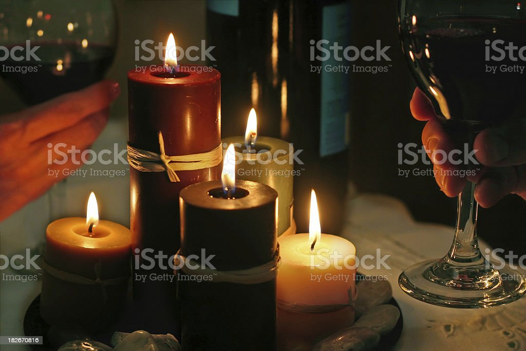 Romantic Candlelight Dinner Toast royalty-free stock photo