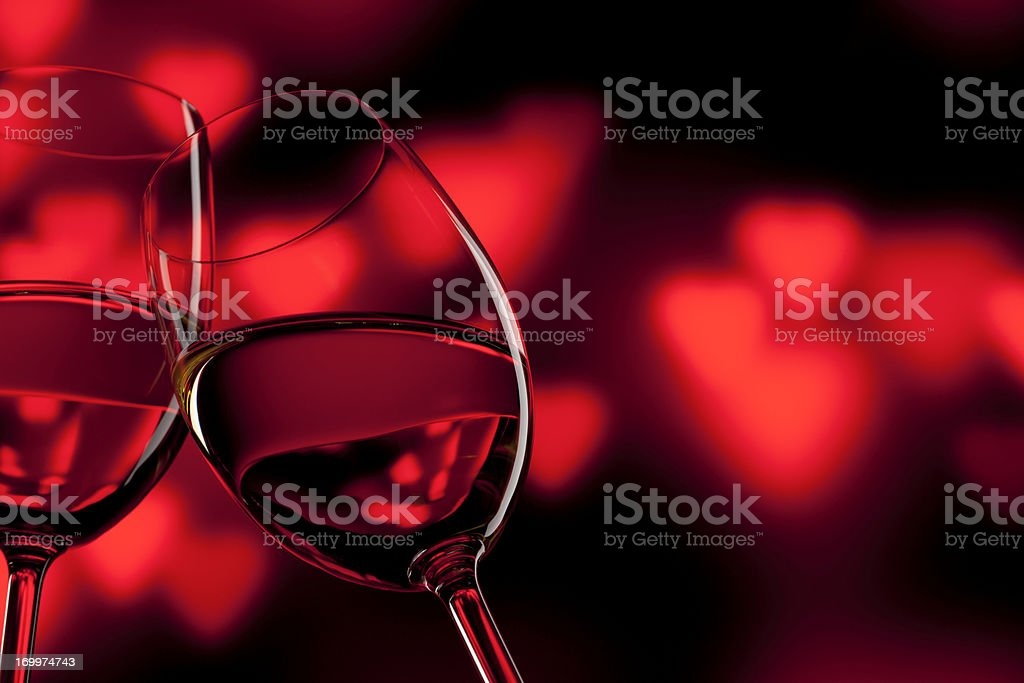Romantic Celebration - Valentine's Day Wine Wineglass Red Love royalty-free stock photo