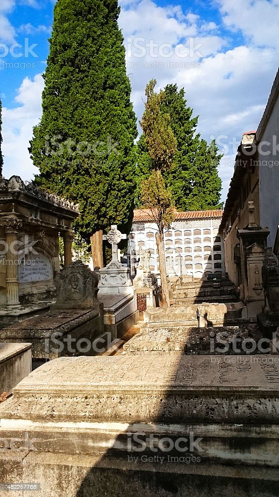 Romantic cemetery, with its Gothic elements stock photo