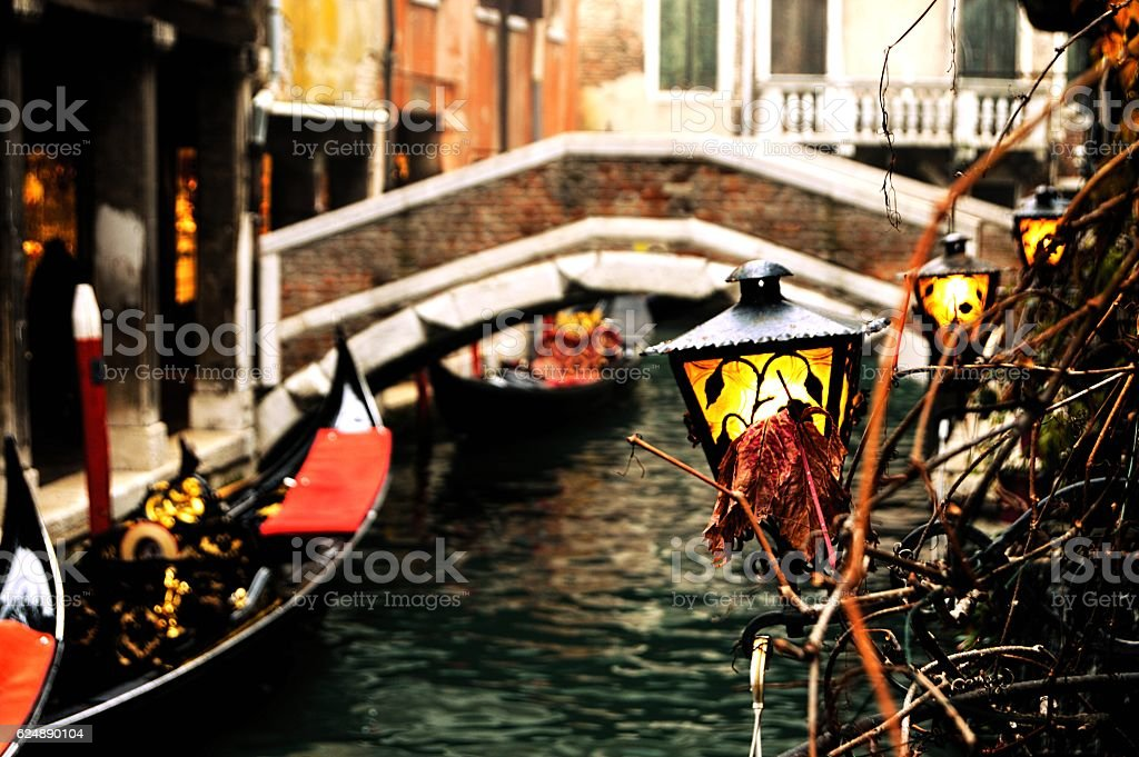 Romantic channel in Venice, Italy stock photo