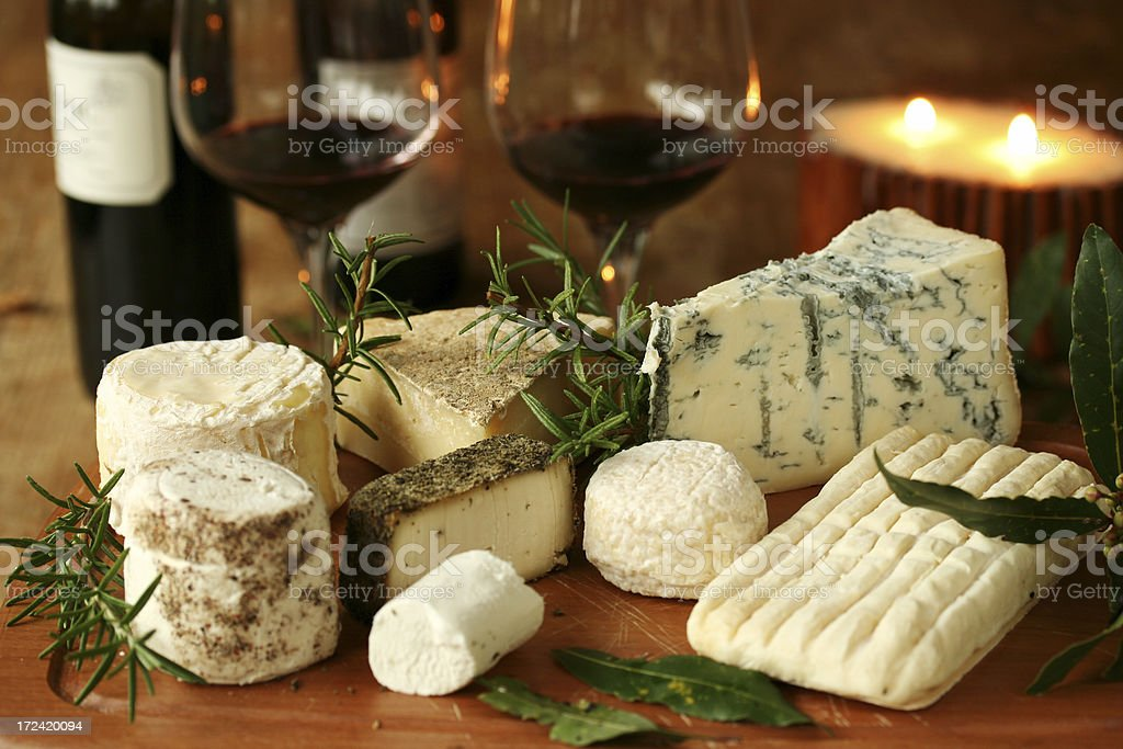 Romantic cheese dinner for two stock photo