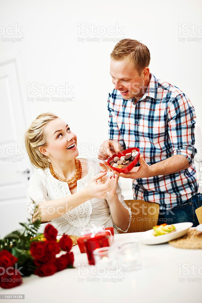 Romantic chocolate gift royalty-free stock photo