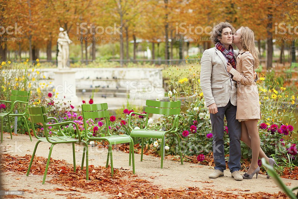 Romantic couple at fall, having a date royalty-free stock photo