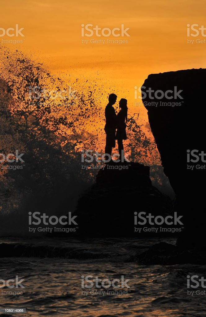 Romantic Couple at Sunset royalty-free stock photo